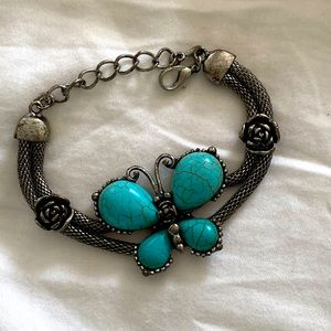 Lucky Brand Turquoise Butterfly Silver Bracelet